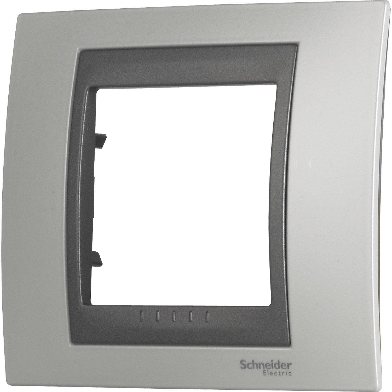 plaque simple unicatop schneider electric blanc et graphite leroy merlin. Black Bedroom Furniture Sets. Home Design Ideas