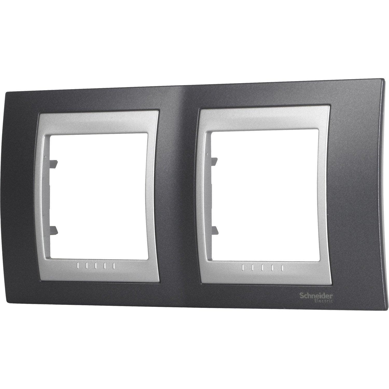 Plaque double unicatop schneider electric gris m tal et - Plaque d aluminium leroy merlin ...