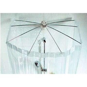 rideau de douche en plastique eventail sensea transparent 170 x 200 cm leroy merlin. Black Bedroom Furniture Sets. Home Design Ideas
