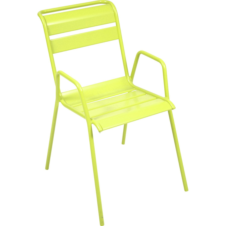 Chaise de jardin en acier monceau verveine leroy merlin - Chaise plexi leroy merlin ...