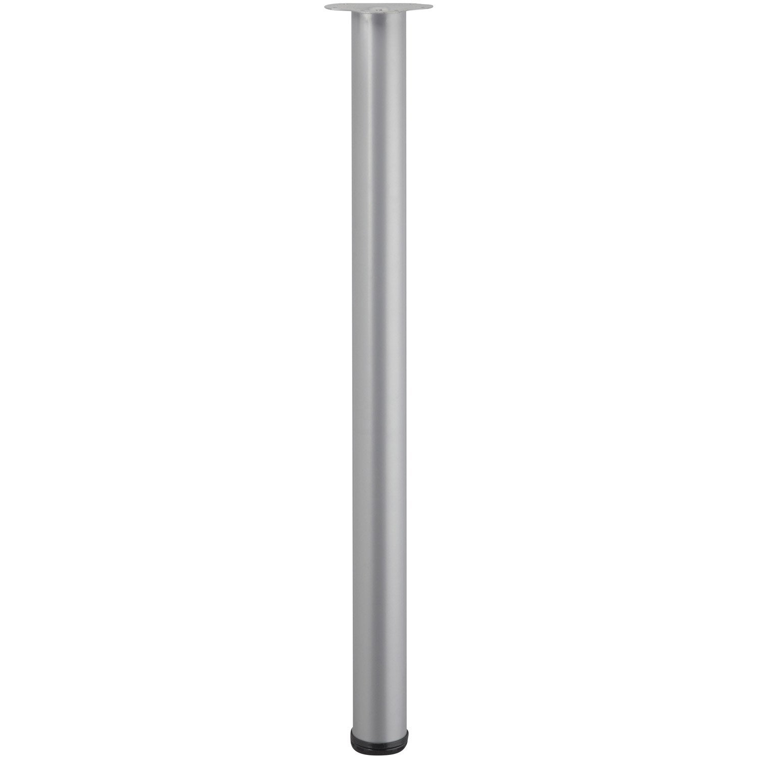 Pied de table cylindrique r glable acier mat gris de 110 for Pied de table cuisine leroy merlin