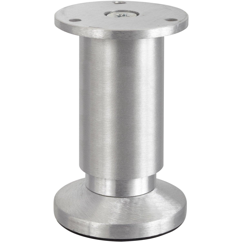 Pied de meuble cylindrique r glable en aluminium bross gris 10cmx38mm ler - Pied telescopique leroy merlin ...