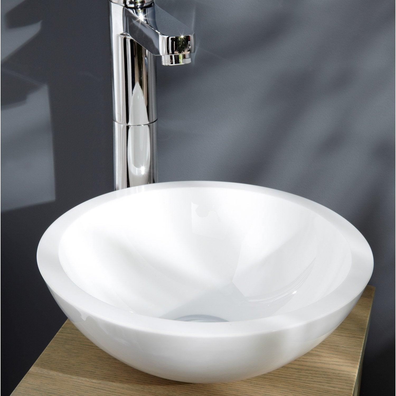 Lave mains verre blanc x cm eva leroy merlin - Leroy merlin meuble lave main ...