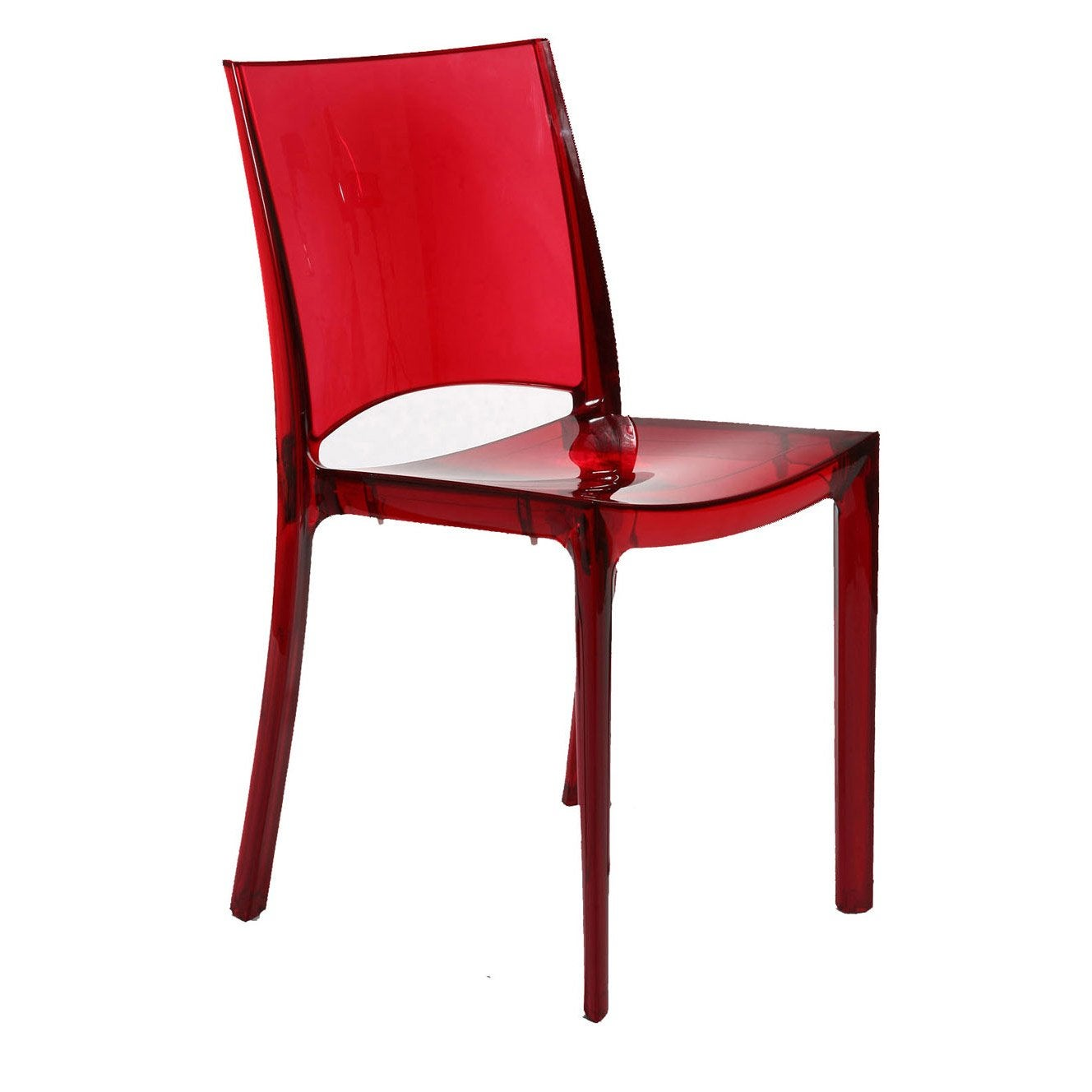 Chaise de jardin en polycarbonate paris lux rouge leroy for Chaise rouge