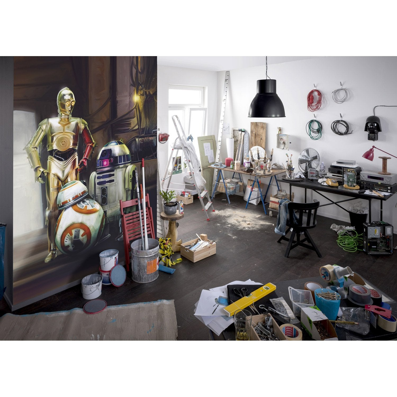 photo murale star wars noir blanc jaune papier disney leroy merlin. Black Bedroom Furniture Sets. Home Design Ideas