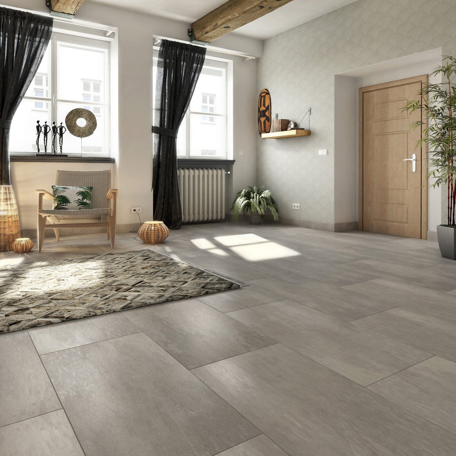 Carrelage sol et mur gris effet pierre atmosphere x l for Carrelage 60 60