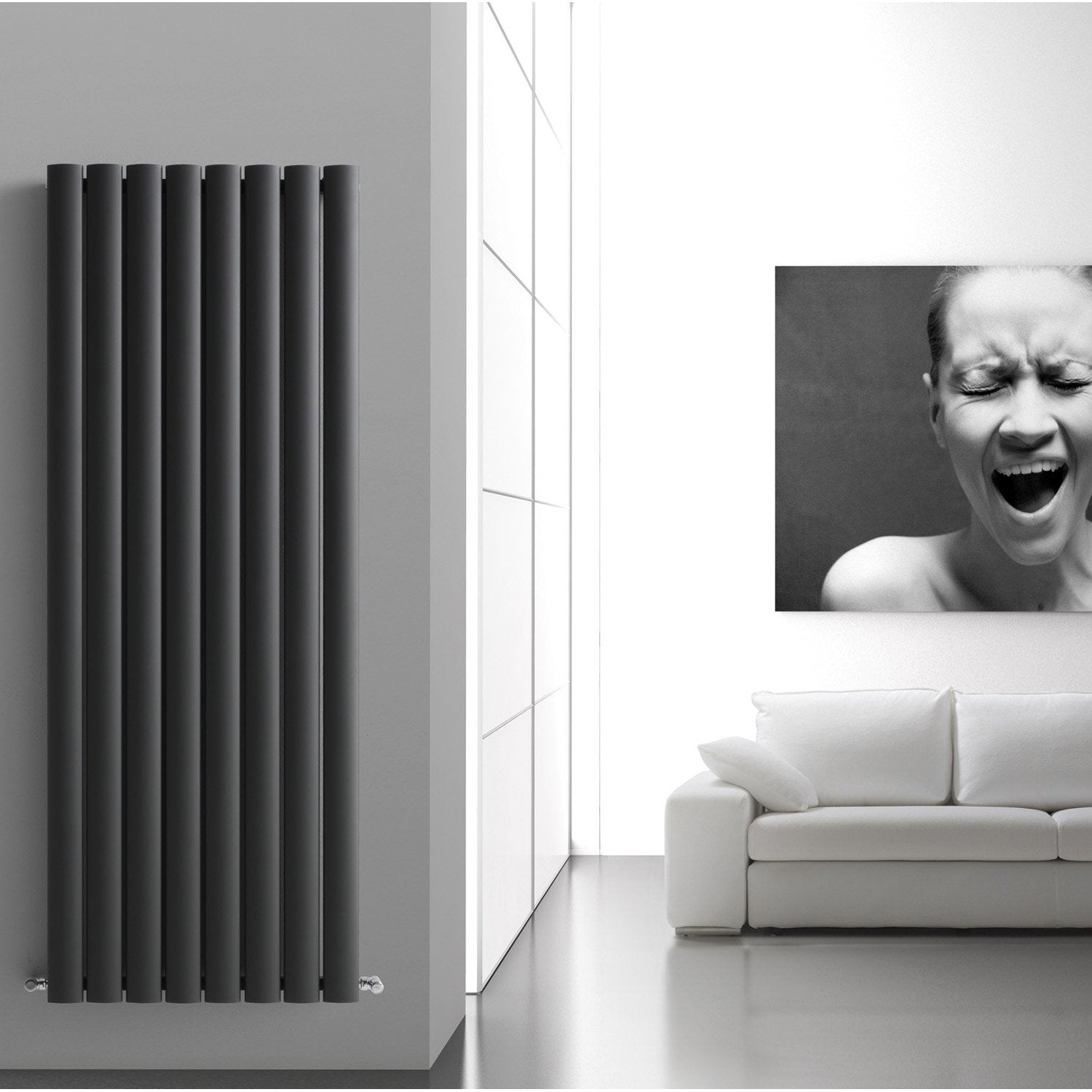 radiateur chauffage central blower anthracite cm 1929 w leroy merlin. Black Bedroom Furniture Sets. Home Design Ideas