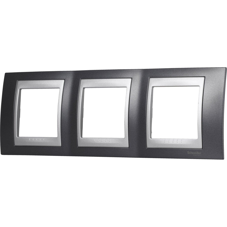 plaque triple unicatop schneider electric gris m tal et. Black Bedroom Furniture Sets. Home Design Ideas