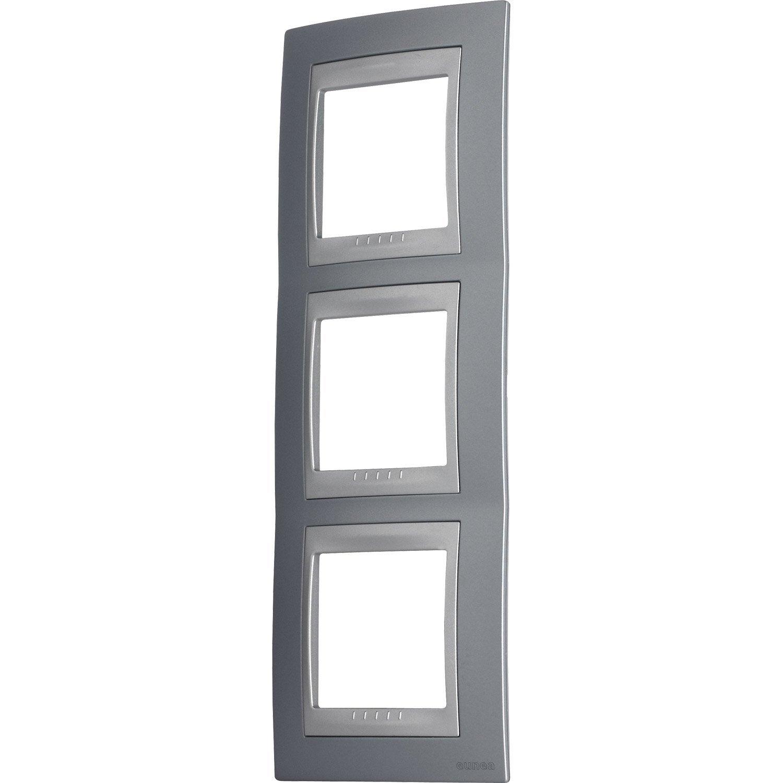 plaque triple unicatop schneider electric gris m tal et aluminium leroy merlin. Black Bedroom Furniture Sets. Home Design Ideas