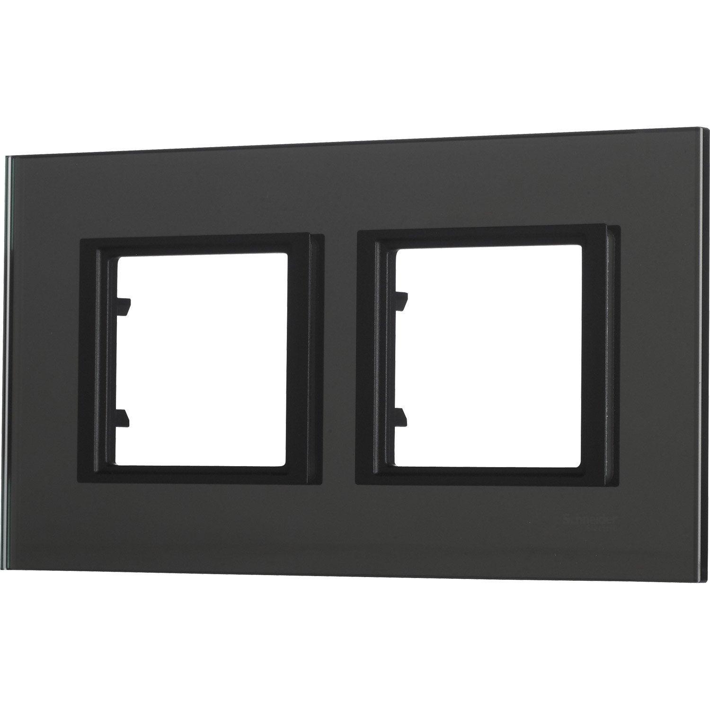 Plaque double unicatop schneider electric noir miroir leroy merlin - Miroir noir leroy merlin ...