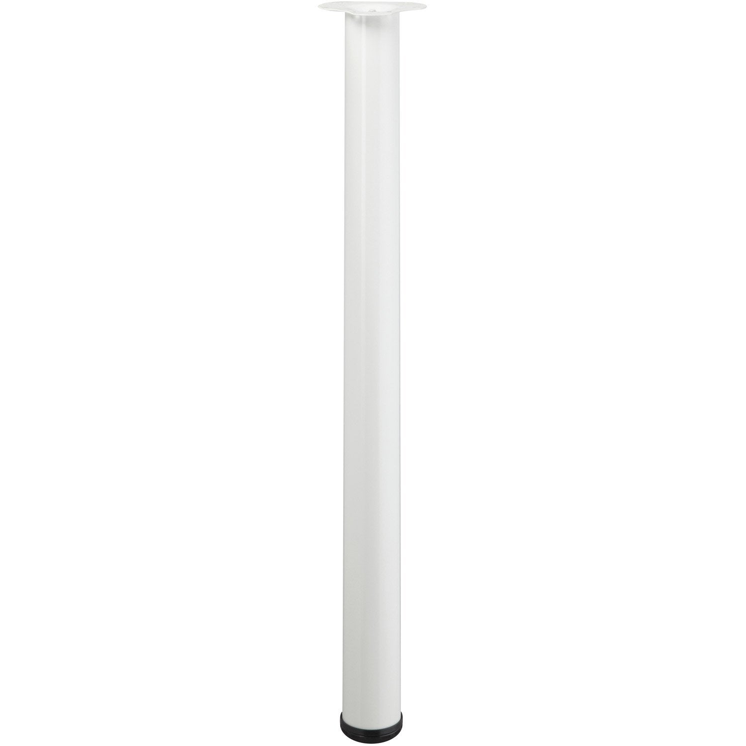 Pied de table cylindrique r glable acier poxy blanc de for Pied de table cuisine leroy merlin
