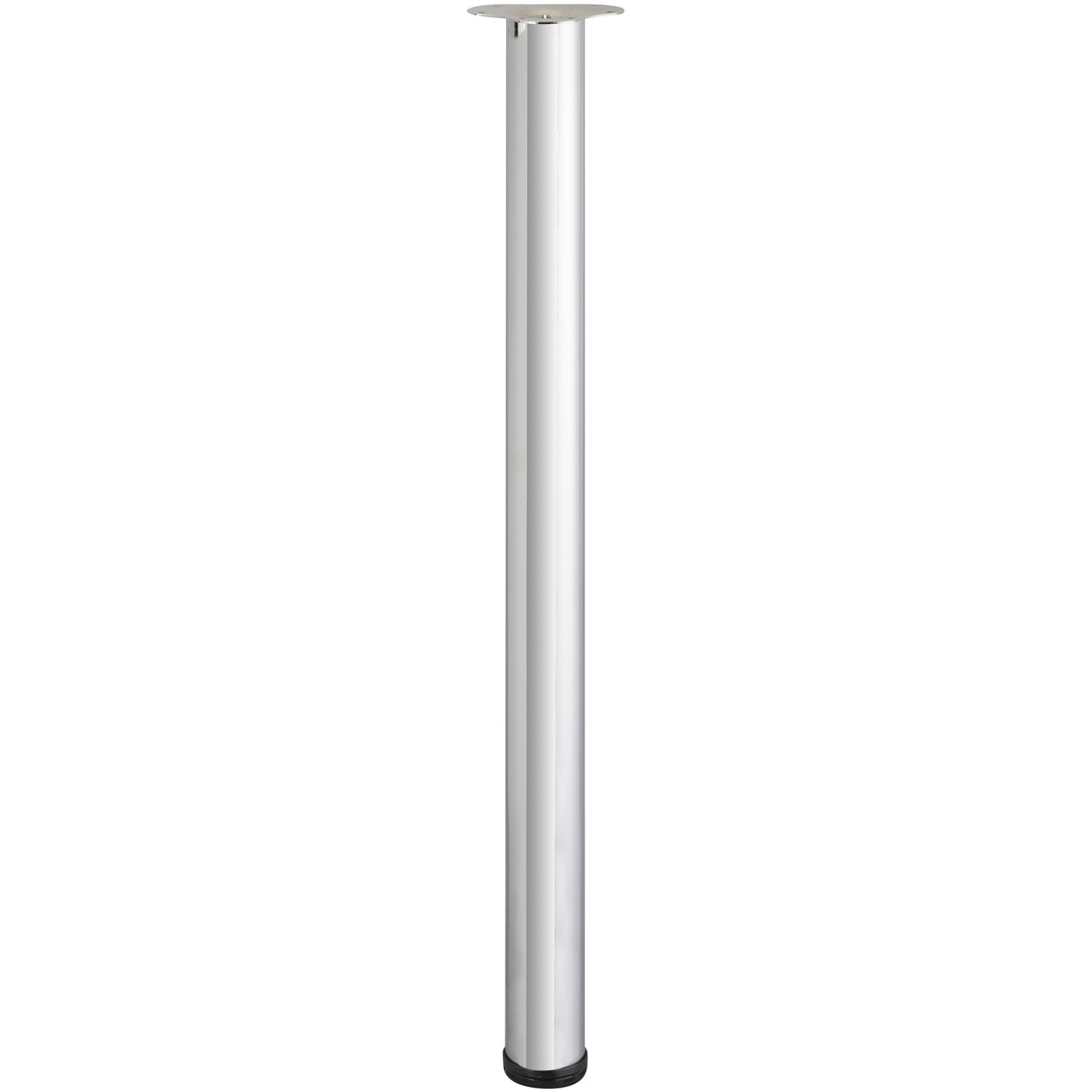Pied de table cylindrique r glable acier chrom gris de for Pied de table cuisine leroy merlin