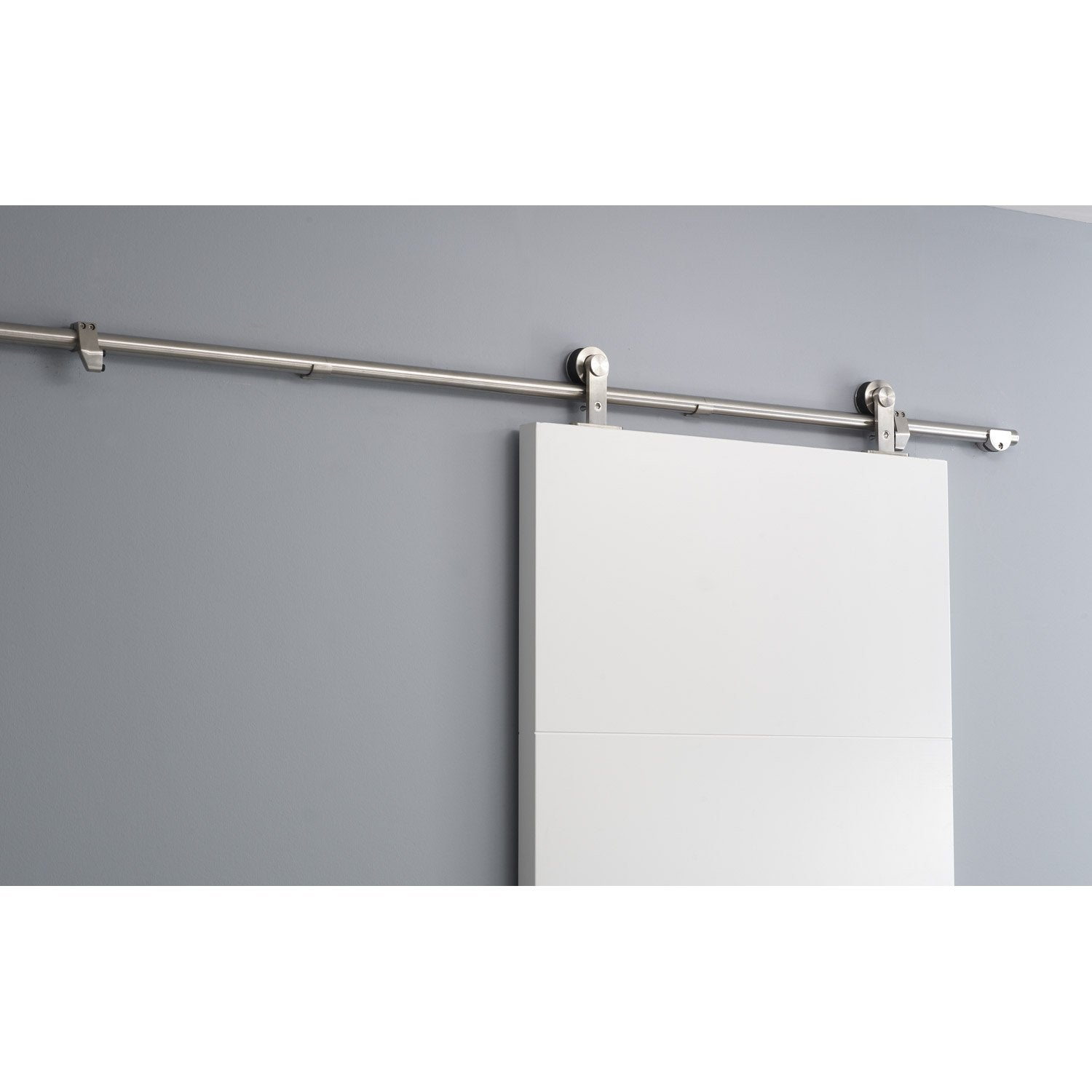 Rail coulissant techno design pour porte de largeur 83 cm maximum leroy me - Fixation rail porte coulissante ...