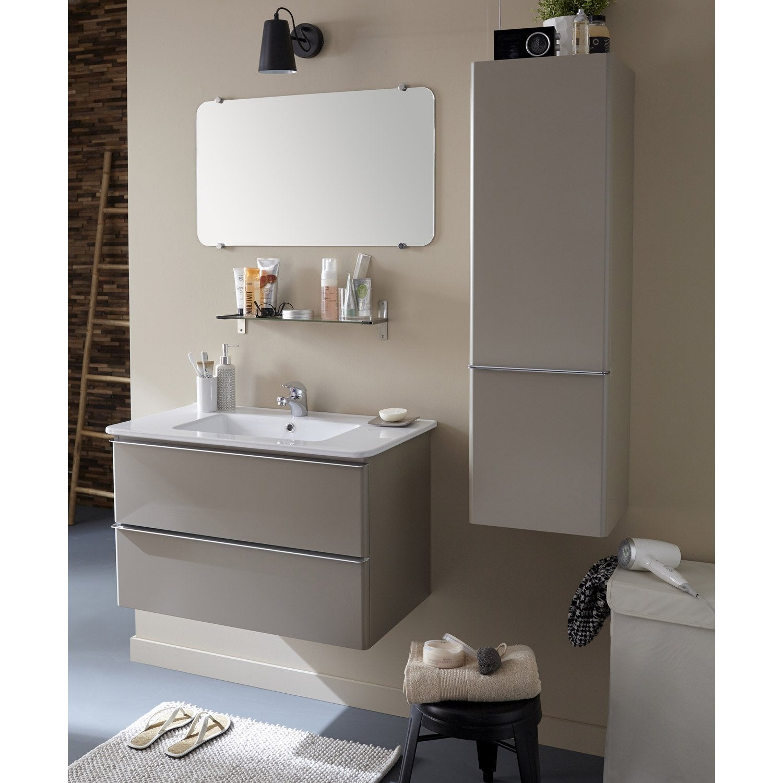 Meuble sous vasque miroir x x cm taupe for Meuble d angle sous lavabo
