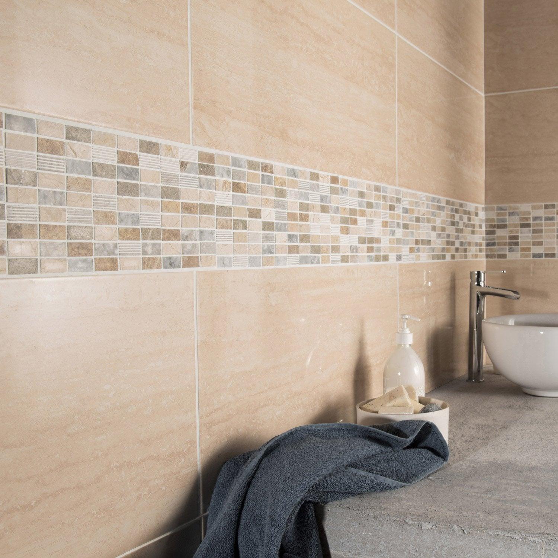 Fa ence mur travertino modena x cm leroy - Carrelage mur salle de bain leroy merlin ...