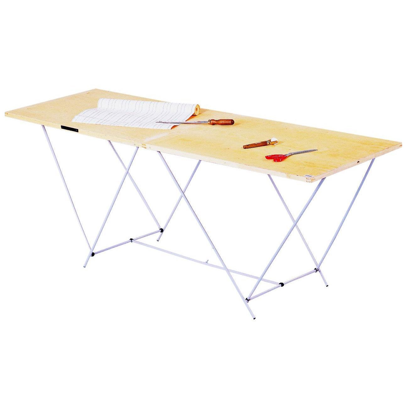 Table tapisser pliante ocai 60 cm x 2 m leroy merlin for Table de cuisine pliante leroy merlin