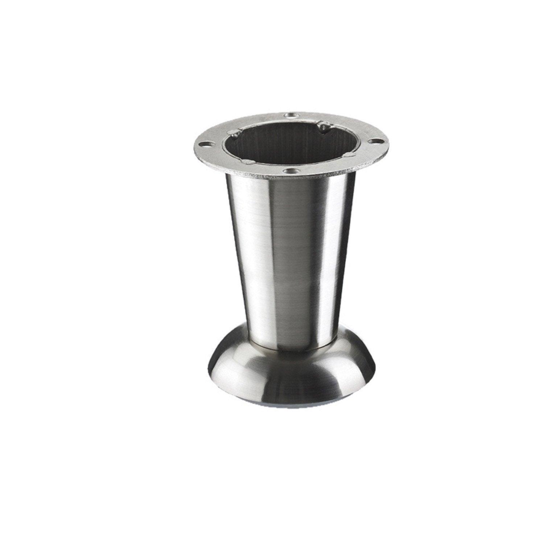 pied de meuble cylindrique fixe acier bross gris 10 cm. Black Bedroom Furniture Sets. Home Design Ideas