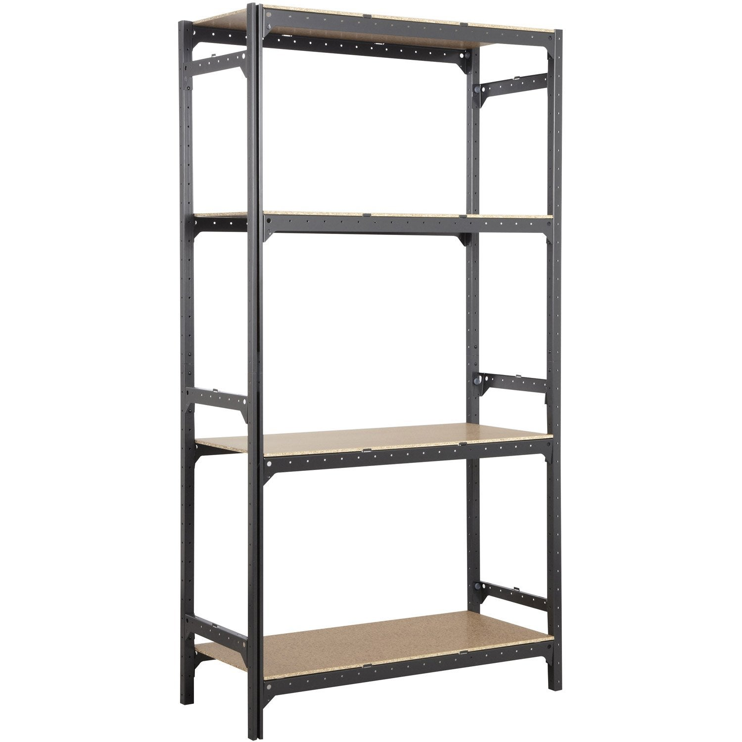 Etag re acier spaceo hubsystem 4 tablettes gris charbon - Etagere metallique modulable ...