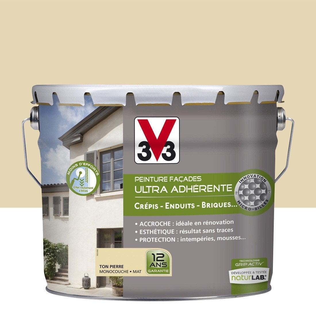 Peinture fa ade ultra adh rente v33 ton pierre 10 l leroy merlin - Peinture facade maison leroy merlin ...