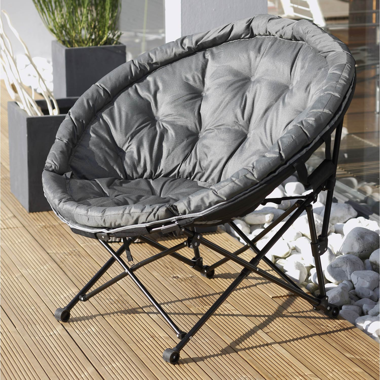 fauteuil de jardin en acier moon noir et gris leroy merlin. Black Bedroom Furniture Sets. Home Design Ideas