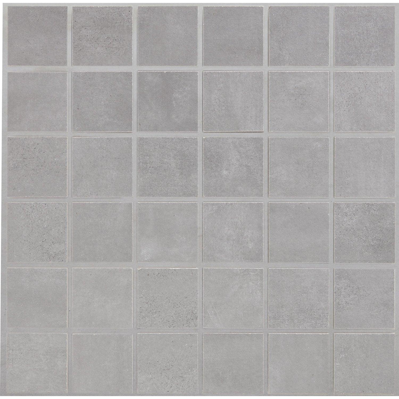 Mosa que sol et mur soft gris leroy merlin for Mosaique piscine leroy merlin