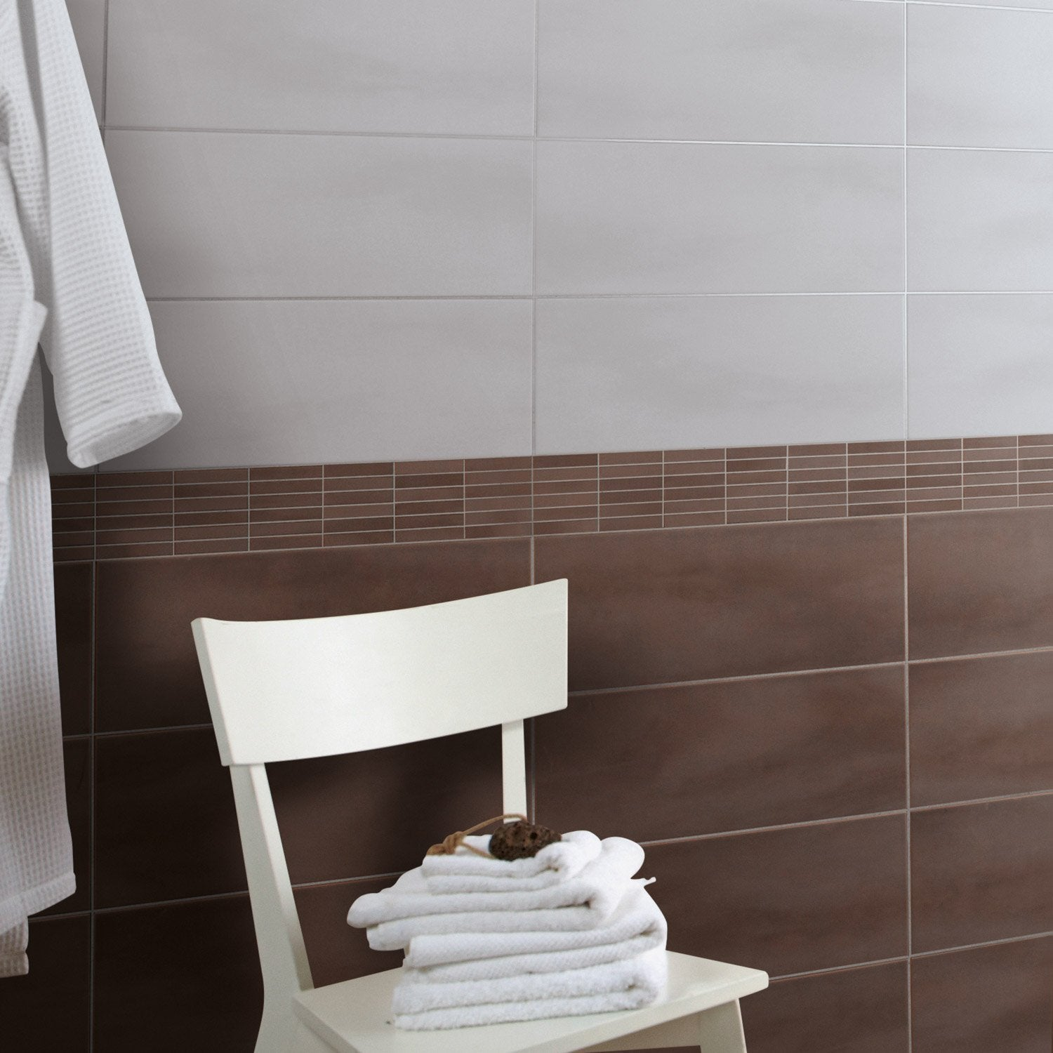 Mosa que mur brooklyn taupe leroy merlin for Mosaique piscine leroy merlin