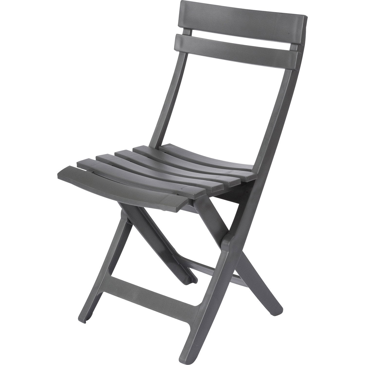 Chaise de jardin en r sine miami anthracite leroy merlin for Chaise longue leroy merlin