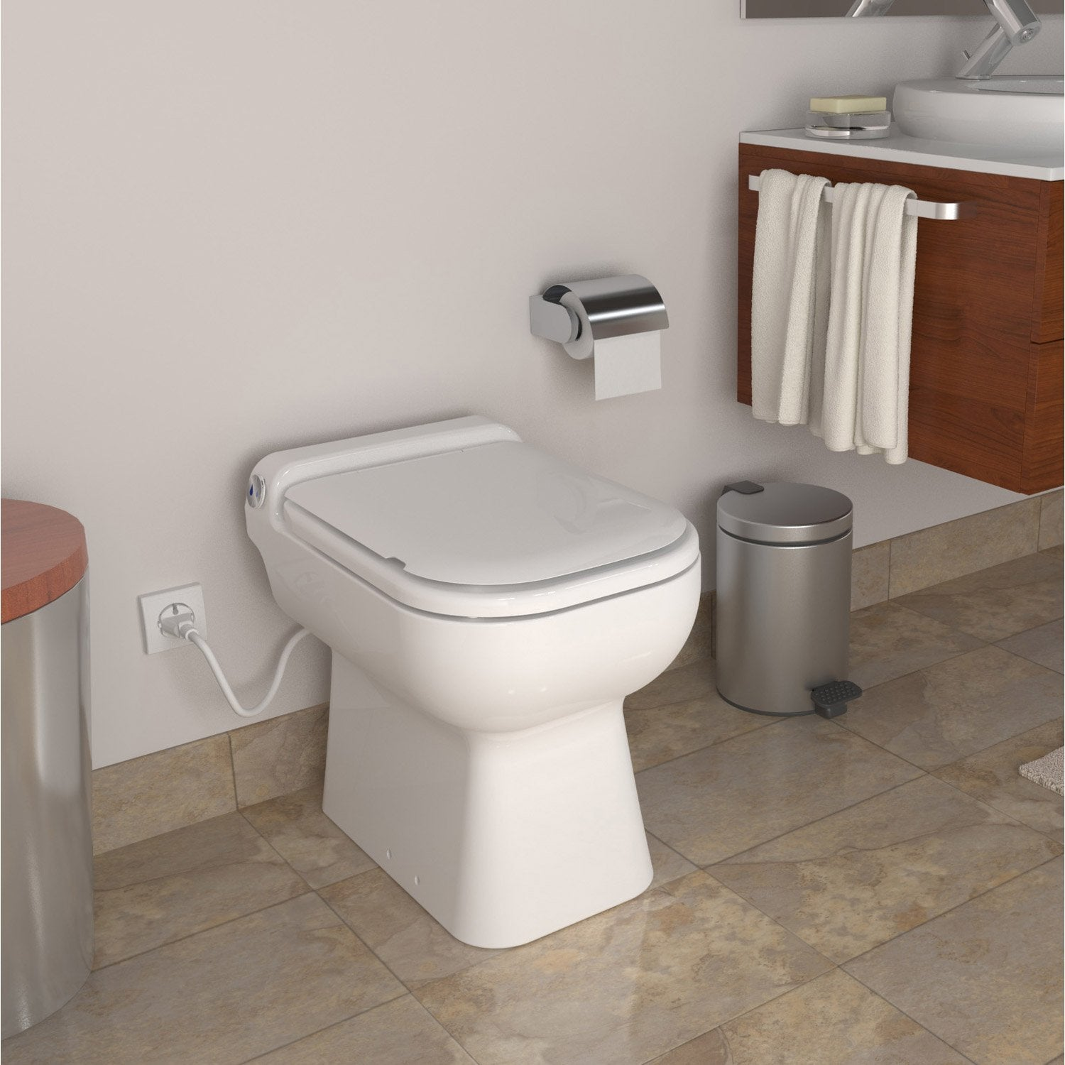 Wc poser avec broyeur int gr turbo design leroy merlin for Petit toilette leroy merlin