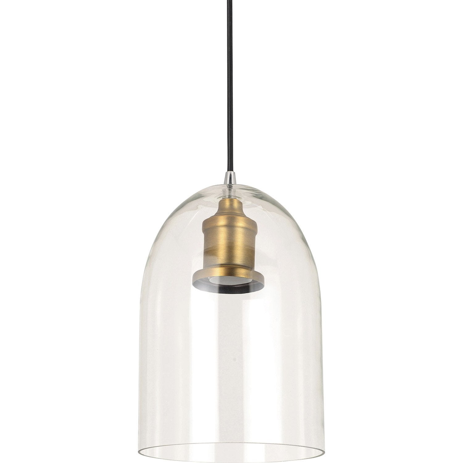 Suspension classique lirton verre transparent 1 x 60 w for Luminaire exterieur design leroy merlin
