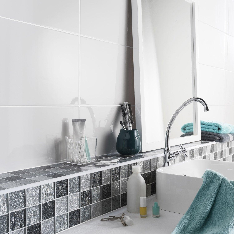 fa ence mur blanc tonic x cm leroy merlin. Black Bedroom Furniture Sets. Home Design Ideas