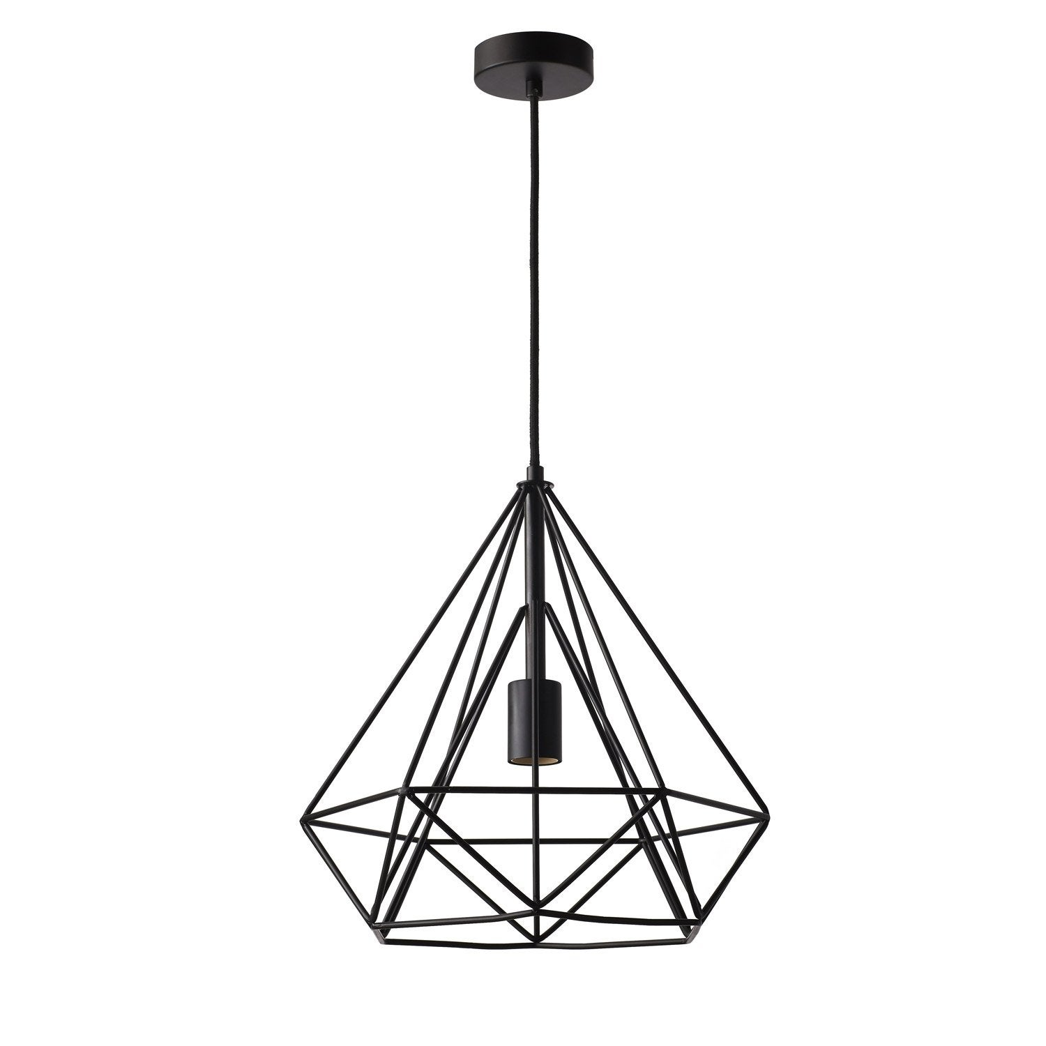 Suspension design byron m tal noir 1 x 60 w inspire for Suspension luminaire filaire