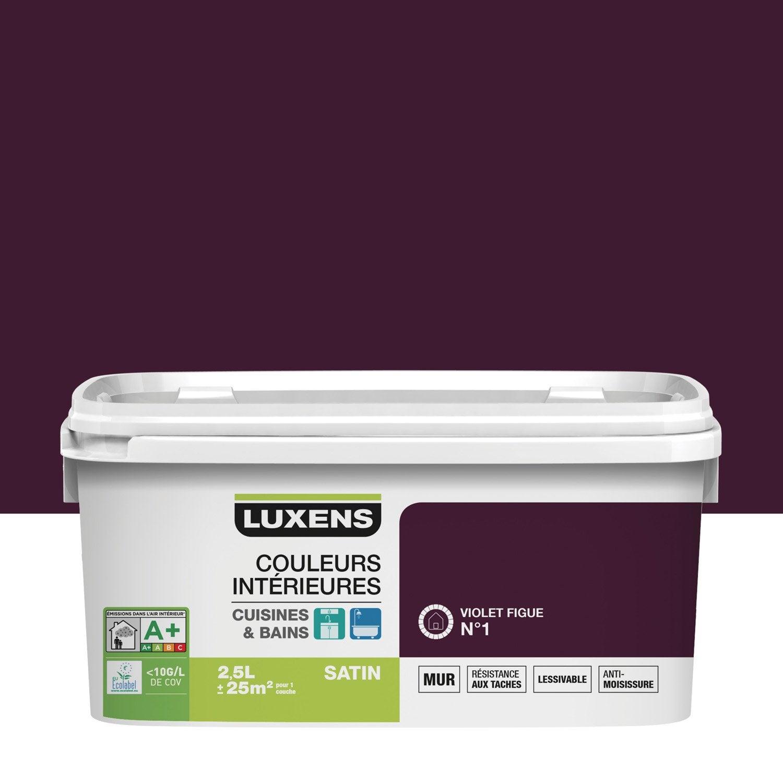 peinture couleurs int rieures luxens violet figue 1 2 5 l leroy merlin. Black Bedroom Furniture Sets. Home Design Ideas