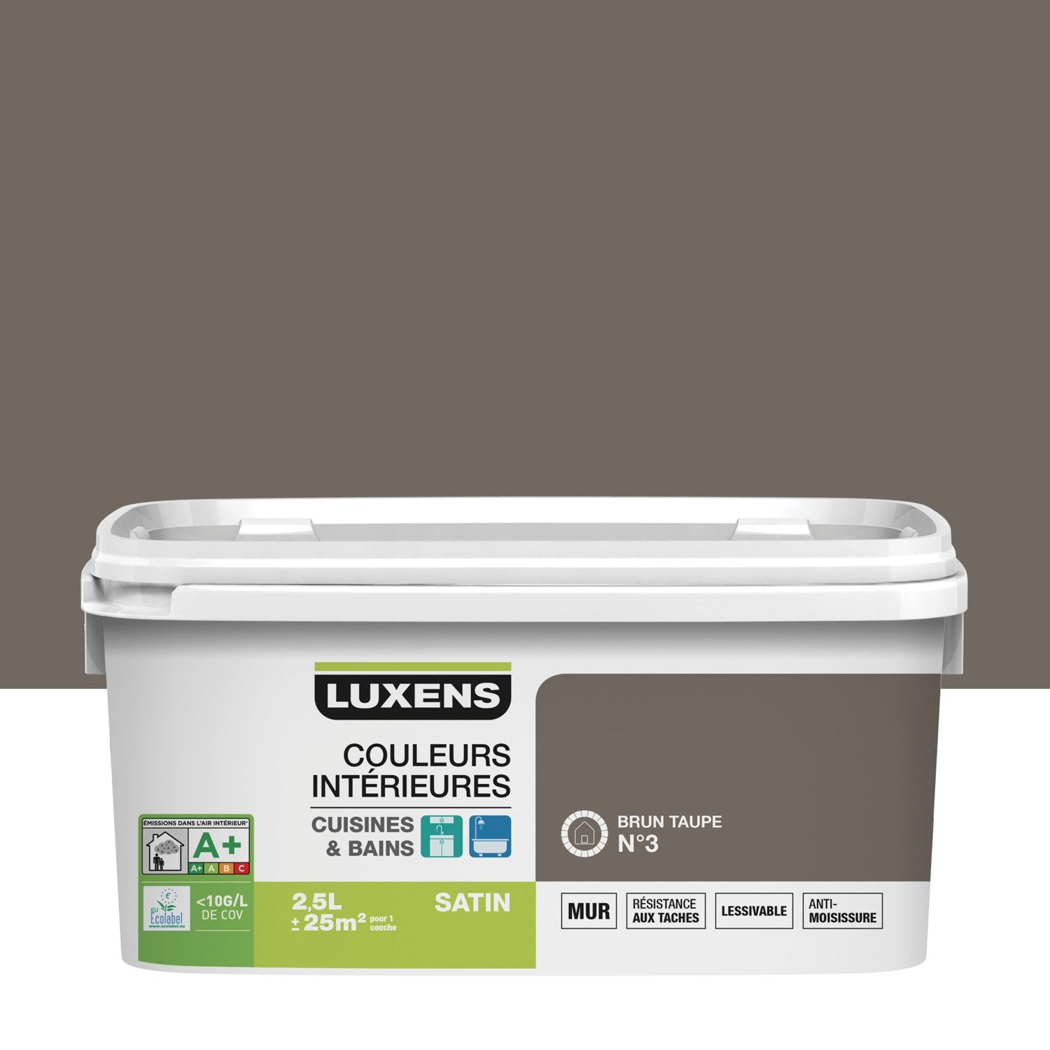 Peinture couleurs int rieures luxens brun taupe 3 2 5 l leroy merlin for Peinture brun taupe
