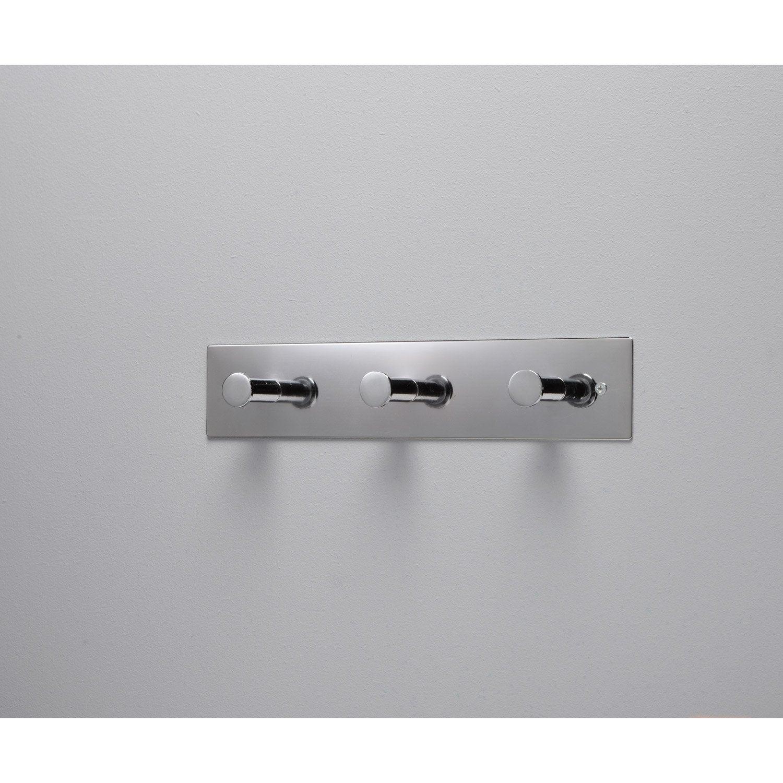 portemanteau platine m tal 3 t tes chrome leroy merlin. Black Bedroom Furniture Sets. Home Design Ideas