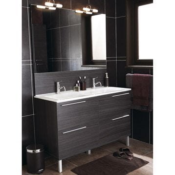 Poubelle de salle de bains 5l chic simili cuir brun for Poubelle salle de bain leroy merlin