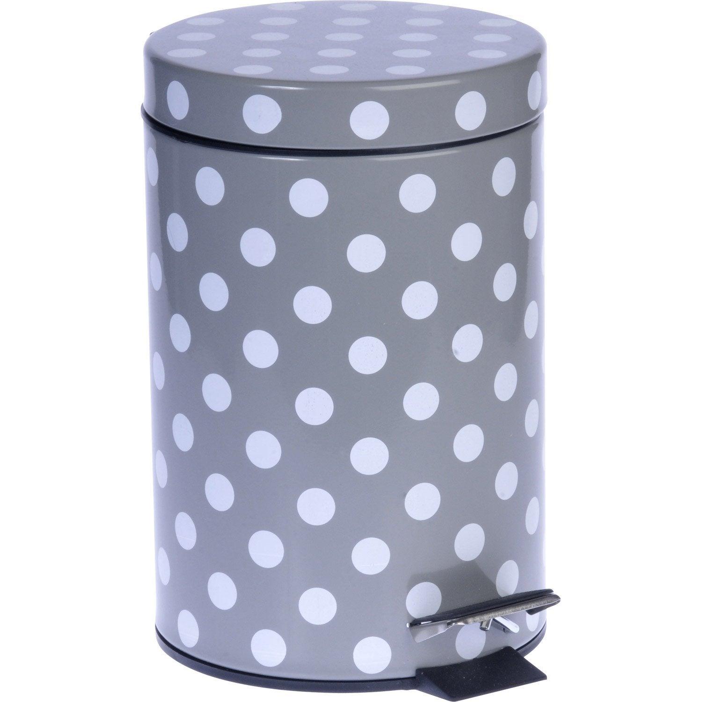 Poubelle de salle de bains 3 l gris galet 3 polka leroy for Poubelle salle de bain leroy merlin