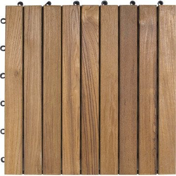 dalle clipsable en teck marron naturel miel l 40 x l 40 cm x ep 25 mm leroy merlin. Black Bedroom Furniture Sets. Home Design Ideas