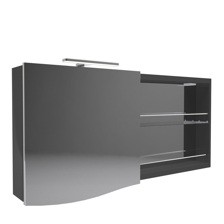 armoire avec clairage int gr cm noir decotec. Black Bedroom Furniture Sets. Home Design Ideas