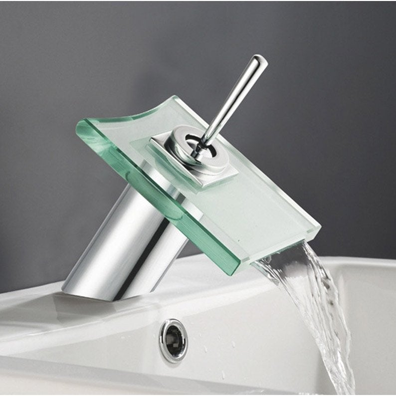 Mitigeur de lavabo cascade chrom brillant cristali for Mitigeur thermostatique salle de bain