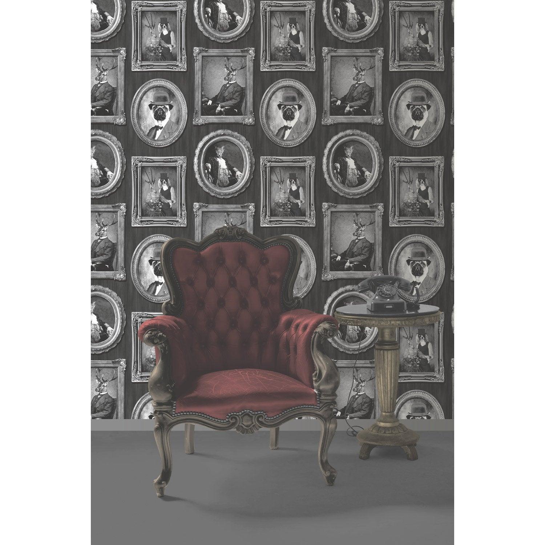 Papier peint intiss portrait animaux noir leroy merlin - Image murale a tapisser ...