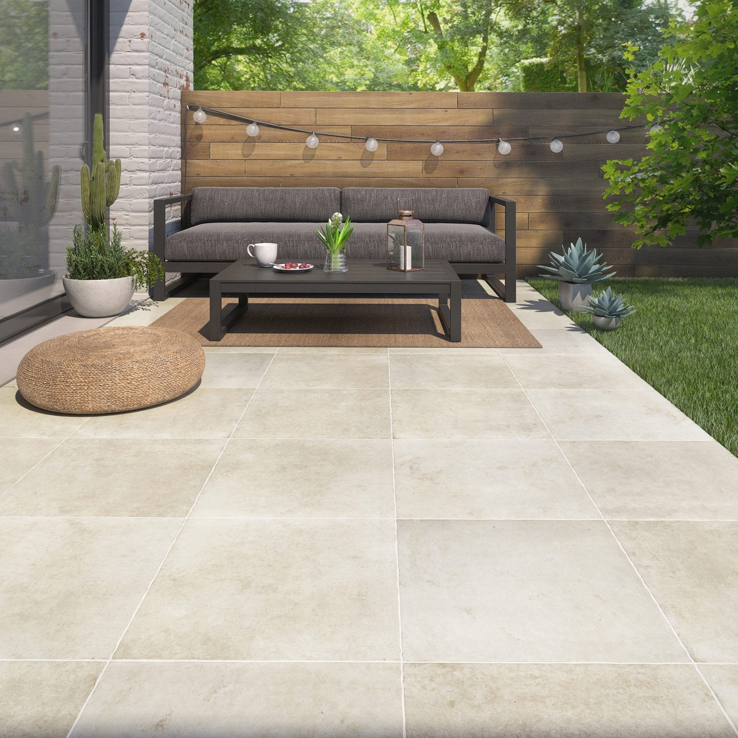 Carrelage sol et mur beige effet pierre monast re x l for Carrelage 50x50