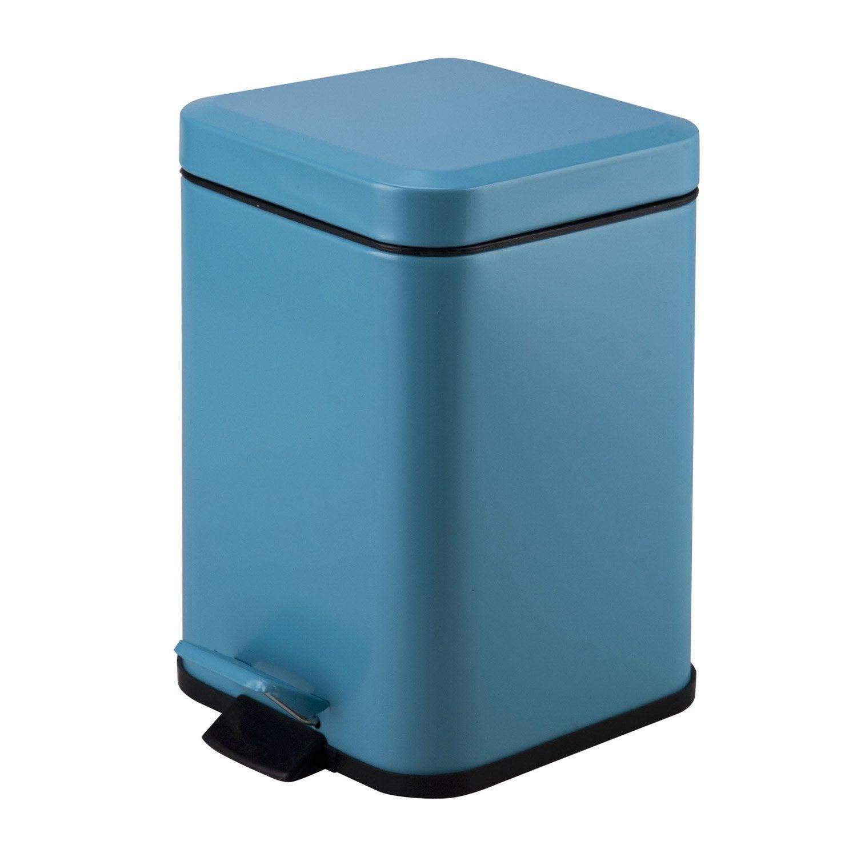 Poubelle de salle de bains 3 l bleu atoll 4 sensea kub for Poubelle salle de bain leroy merlin