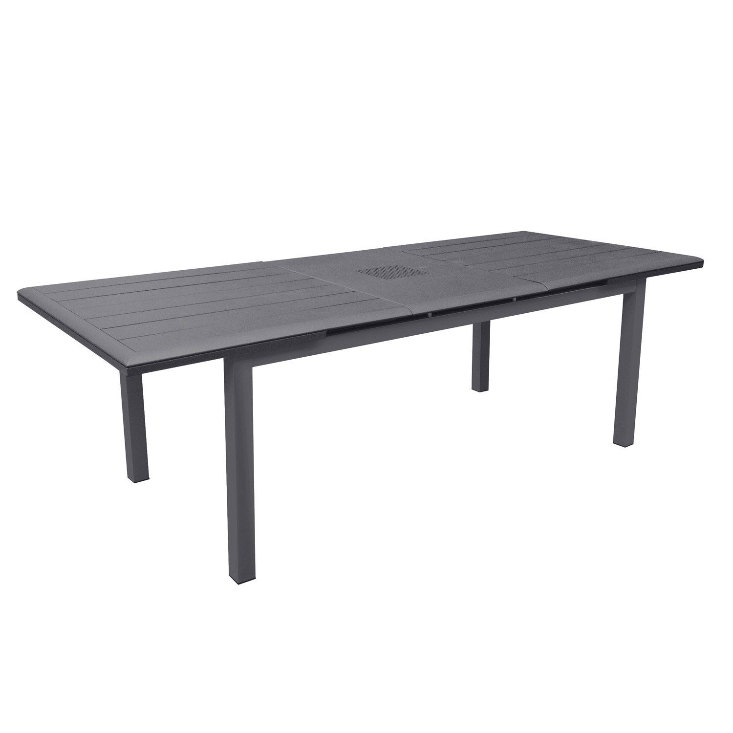 Table de jardin louisiane rectangulaire gris 6 8 personnes for Table extensible leroy merlin
