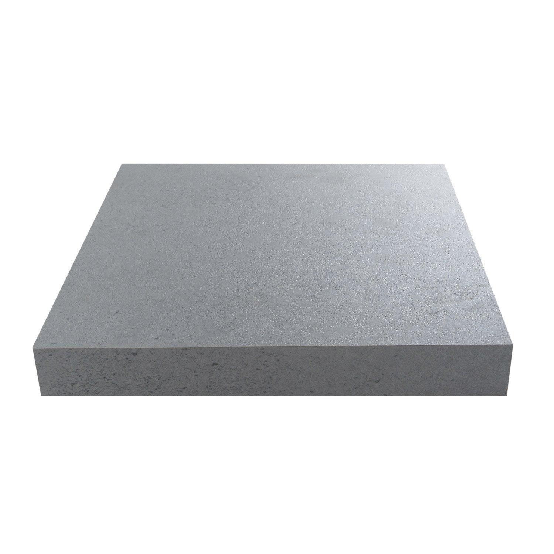 Plan de travail stratifi effet b ton clair mat x cm mm leroy merlin for Plan de travail imitation beton