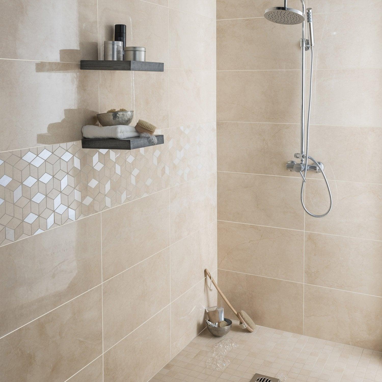 Fa ence mur beige murano x cm leroy merlin for Faience salle de bain beige