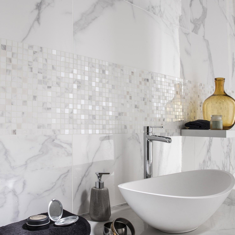 Fa ence mur blanc carrare murano x cm - Faience murale cuisine leroy merlin ...