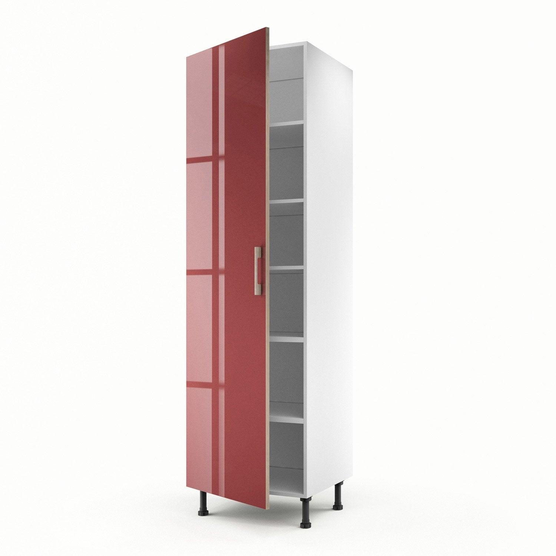 Meuble de cuisine colonne rouge 1 porte grenade x l for Porte 60 x 200