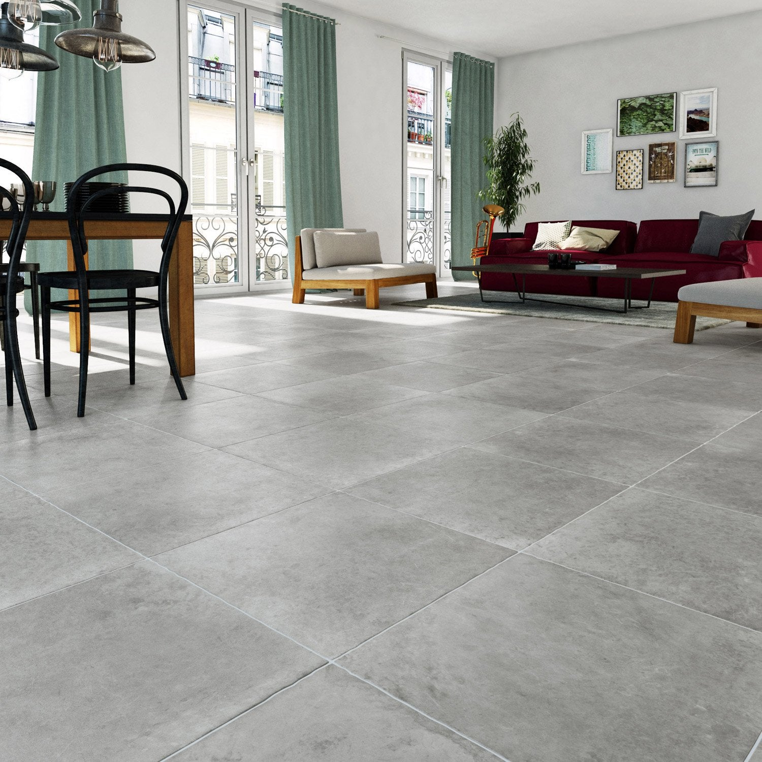 Carrelage sol et mur gris effet pierre monast re x l for Carrelage 70x70 gris