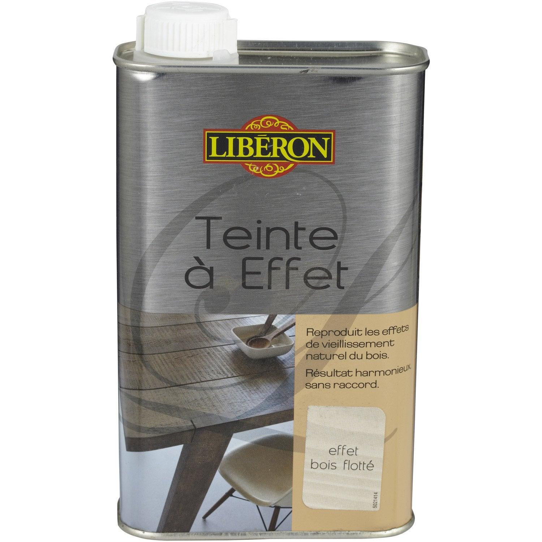 Teinte effet liberon 0 5 l effet bois flott leroy merlin for Peinture effet bois