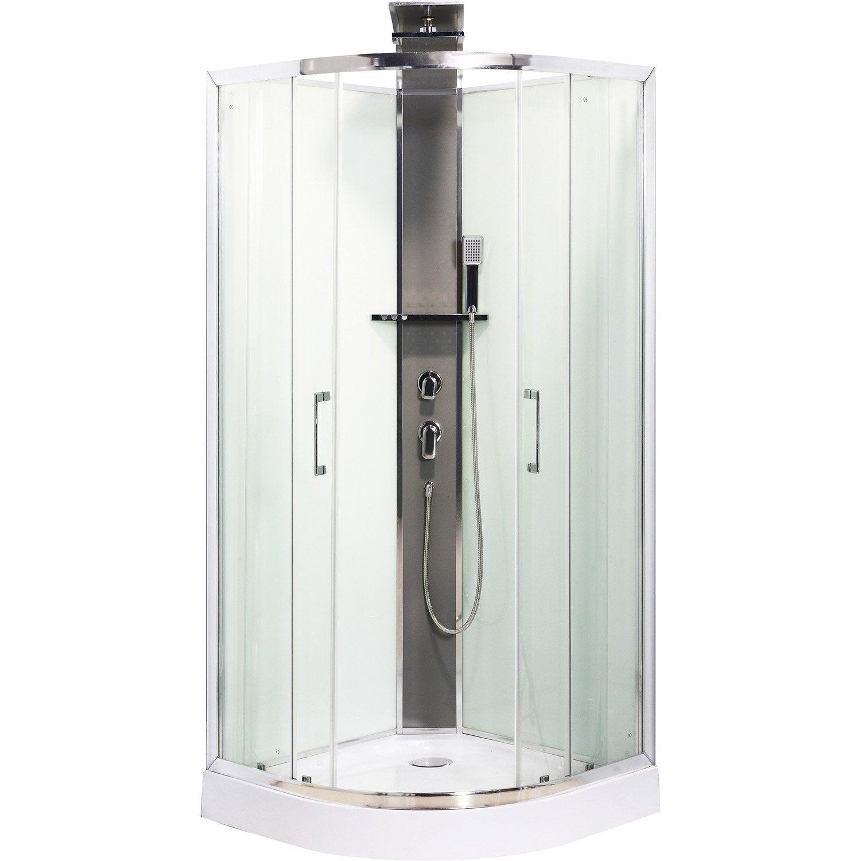 Cabine de douche 1 4 de cercle 90x90 cm remix leroy merlin for Chez leroy merlin produits
